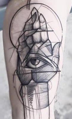 Hamsa Sketch Tattoo