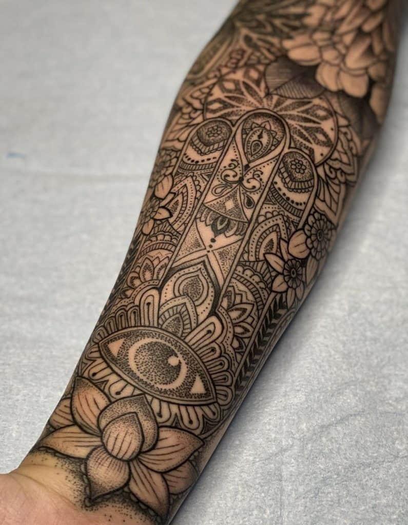 Hamsa Sleeve Tattoo