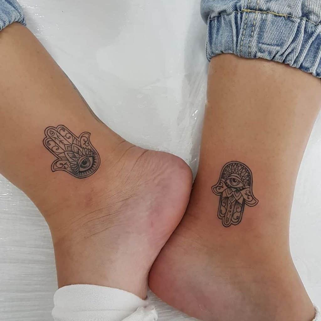 Hamsa Tattoo on Ankle