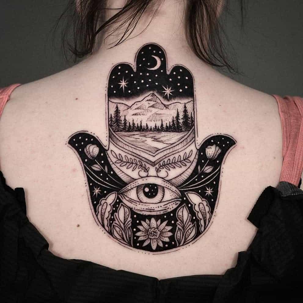 Hamsa Tattoo on Back