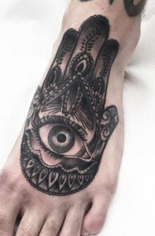 Hamsa Tattoo on Foot