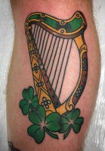 Harp and Shamrock Tattoo