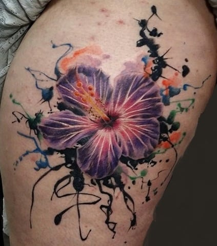 Hibiscus Watercolor Tattoo