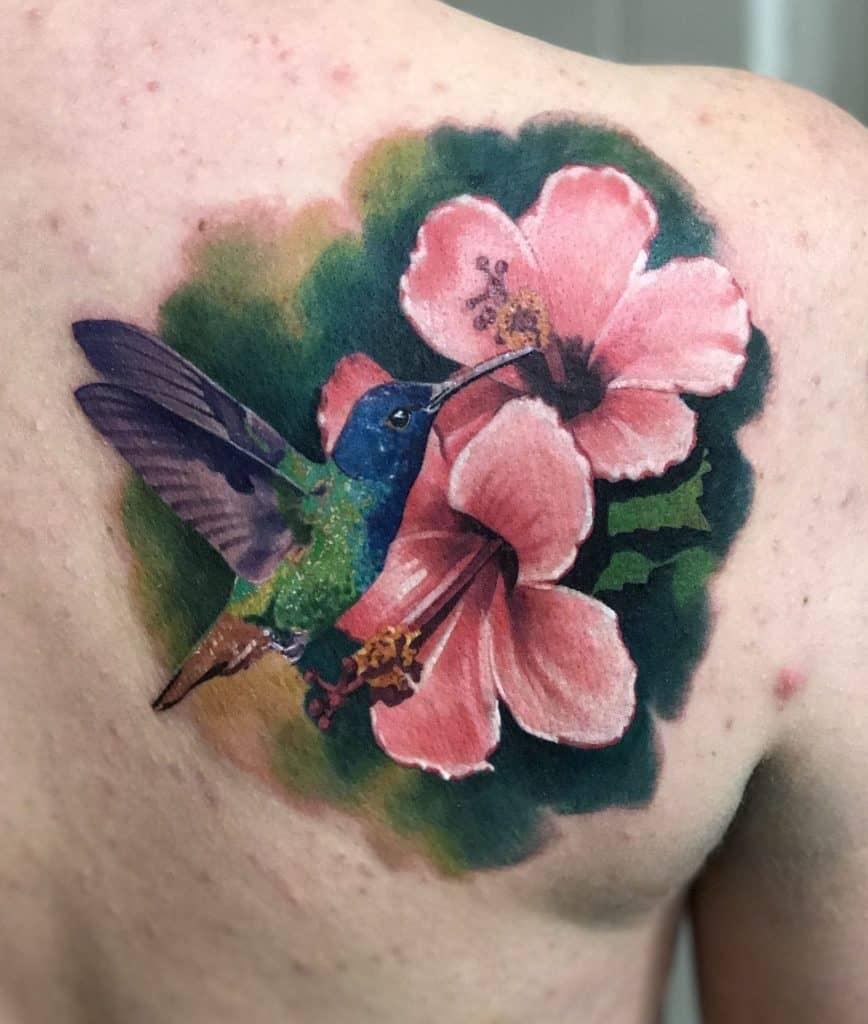 Hibiscus Tattoo and Hummingbird Tattoo