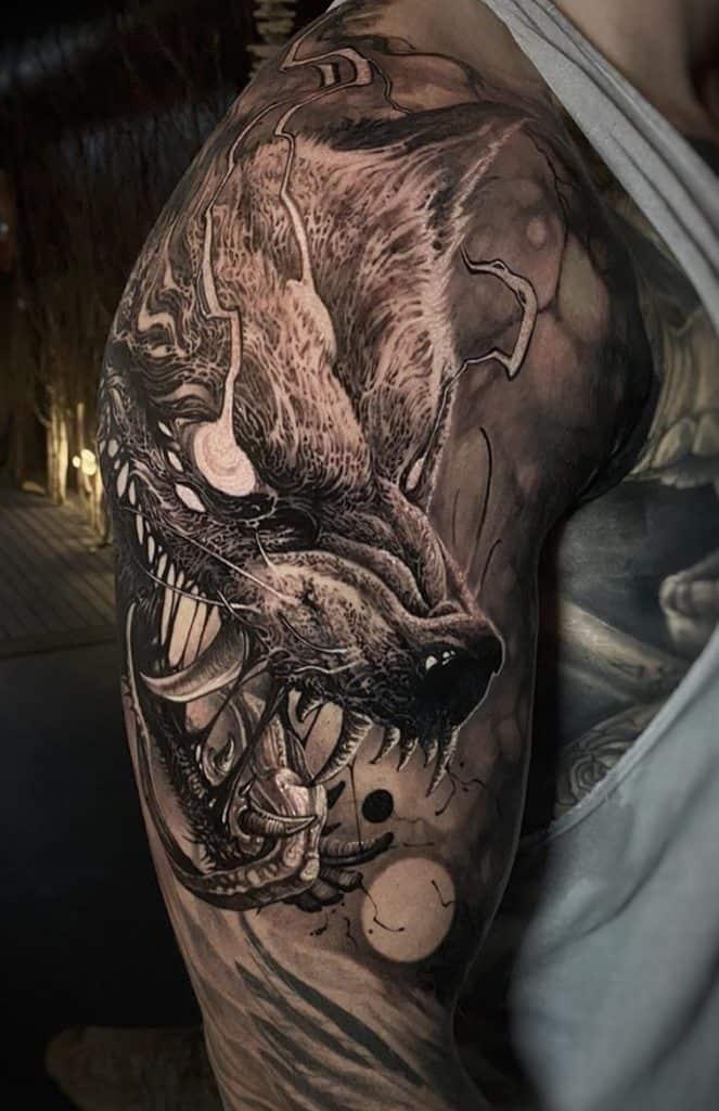 Horror Wolf Tattoo