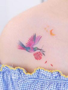 Hummingbird & Rose Tattoo