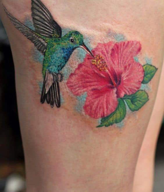 Hummingbird and Hibiscus Tattoo