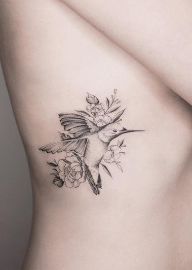 Hummingbird and Peony Tattoo