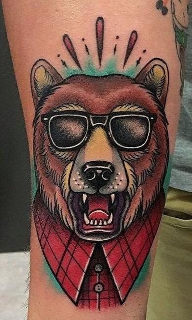 Illustrative Bear Tattoo