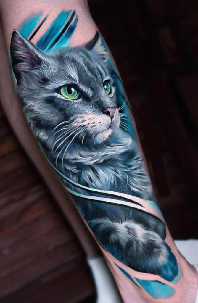 Illustrative Cat Tattoo