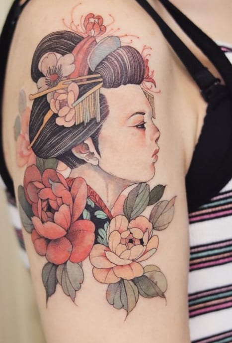 Illustrative Geisha Tattoo