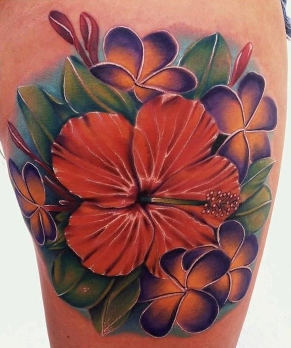 Illustrative Hibiscus Tattoo