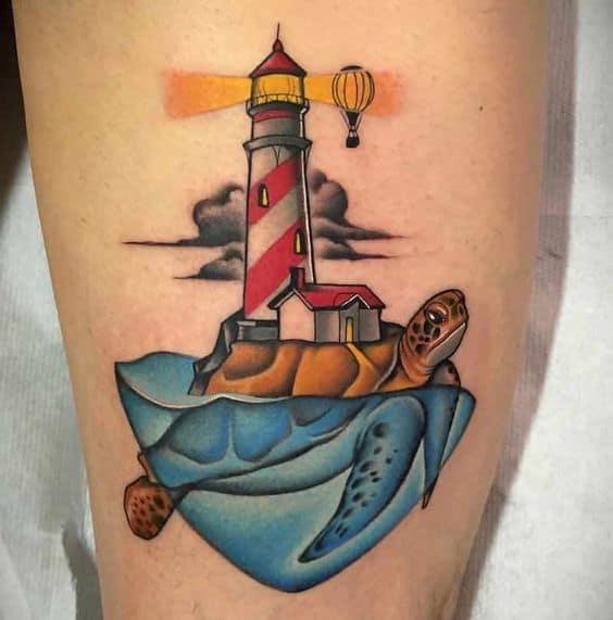 Illustrative Lighthouse Tattoo
