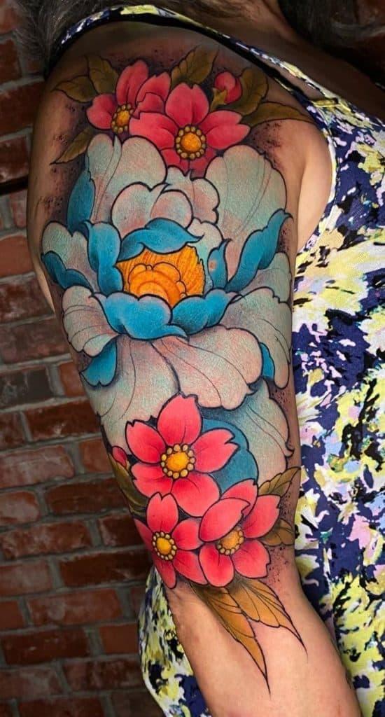 Illustrative Peony Tattoo