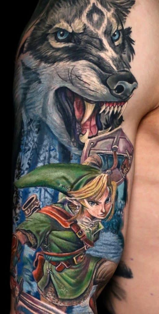 Illustrative Wolf Tattoo