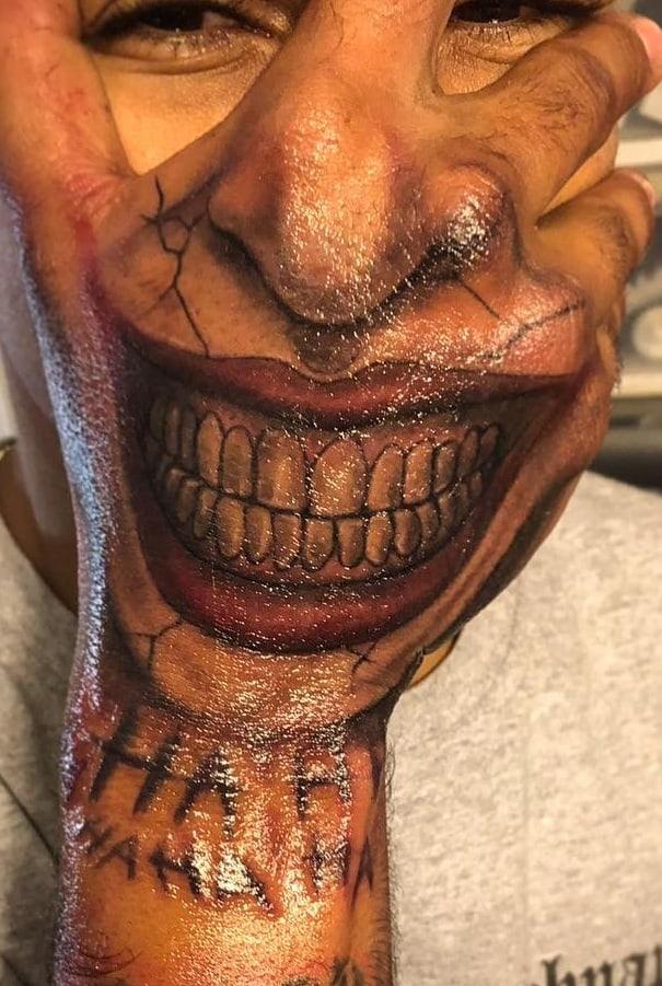 Joker Tattoo Hand Smile
