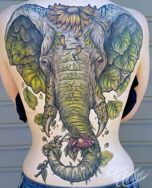 Large Elephant Head Tattoo