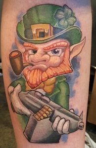 Leprechaun Tattoo with Gun