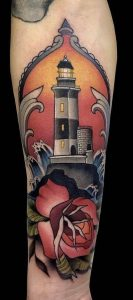 Lighthouse and Rose Tattoo