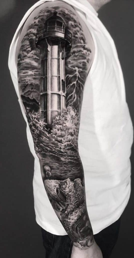 Lighthouse Sleeve Tattoo