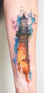 Lighthouse Watercolor Tattoo
