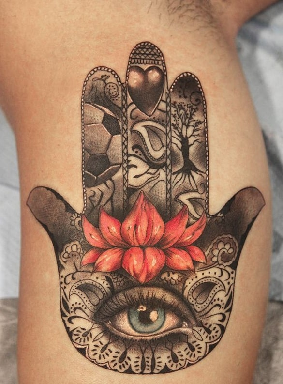 Lotus and Hamsa Tattoo