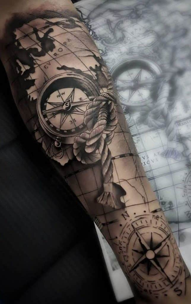 Map and Compass Tattoo