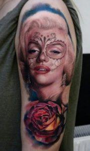 Marilyn Monroe Sugar Skull Tattoo