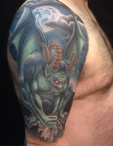 Moon and Gargoyle Tattoo