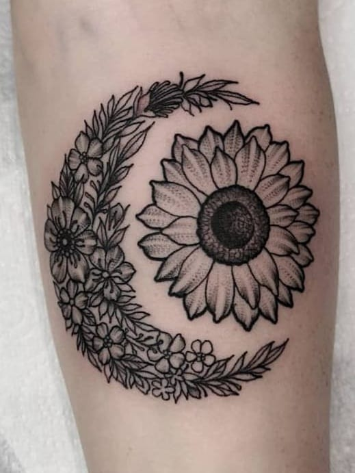 Moon and Sunflower Tattoo