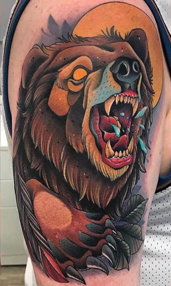 Neo-traditional Bear Tattoo