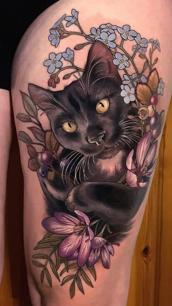 Neo-traditional Cat Tattoo