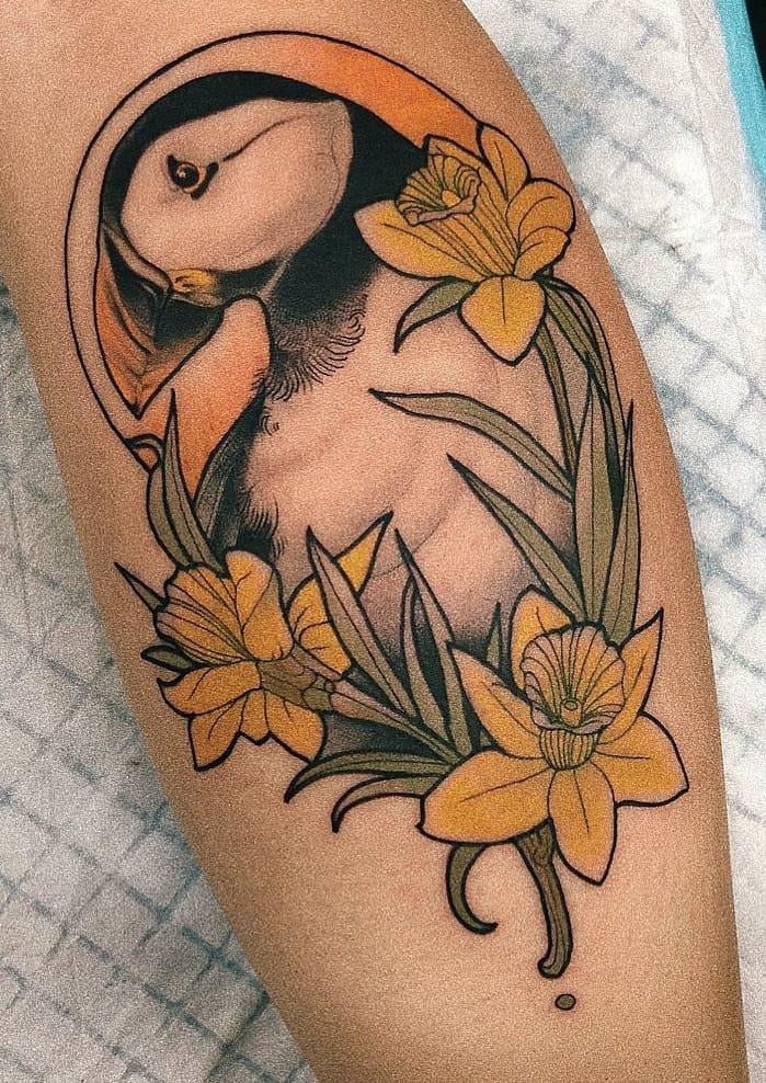 Neo-traditional Daffodil Tattoo