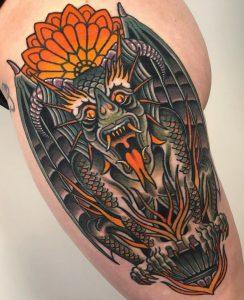 Neo-traditional Gargoyle Tattoo
