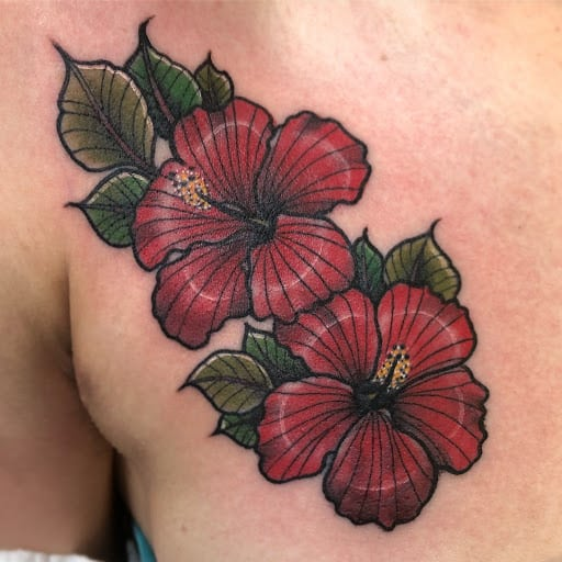 Neo-traditional Hibiscus Tattoo