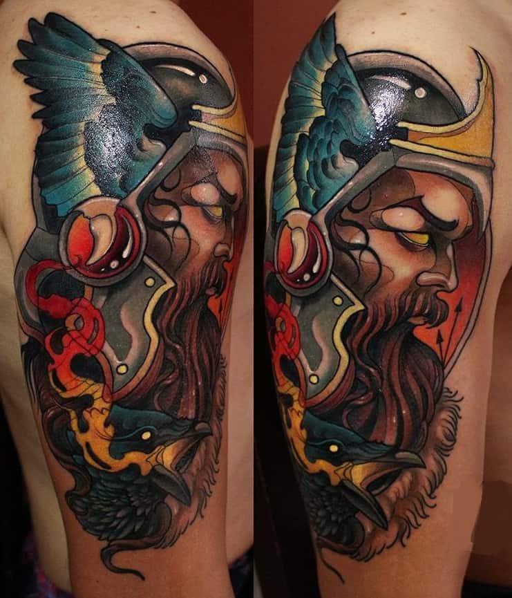 Neo-traditional Odin Tattoo