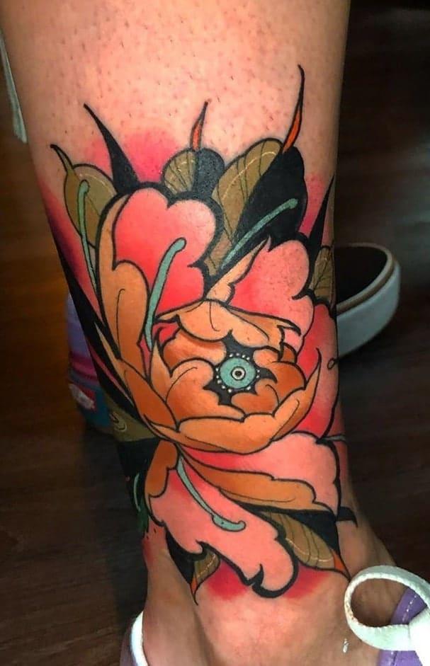 Neo-traditional Peony Tattoo