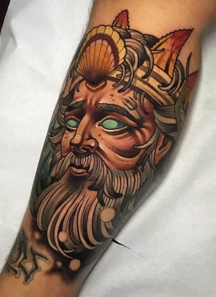 Neo-traditional Poseidon Tattoo