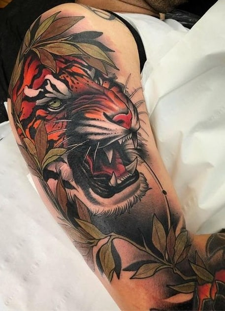 Neo-traditional Tiger Tattoo