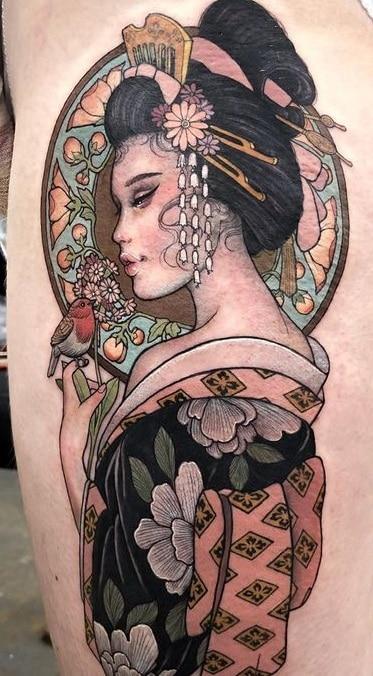 Neo-traditional Geisha Tattoo