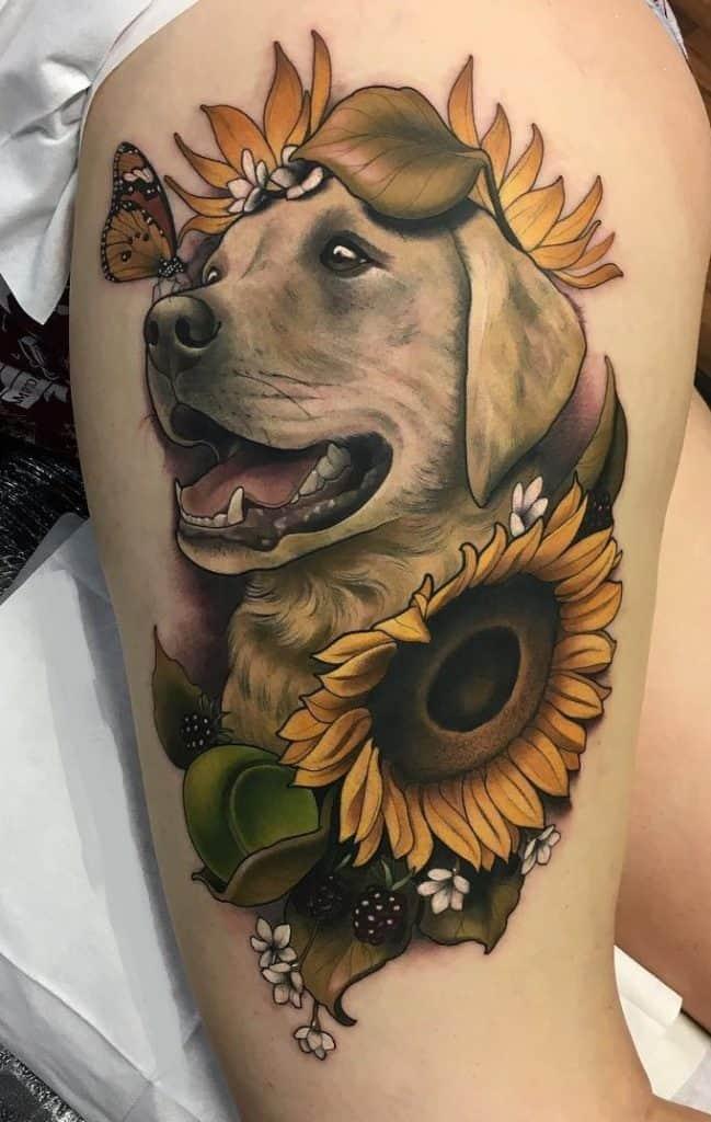 Neo-traditional Sunflower Tattoo