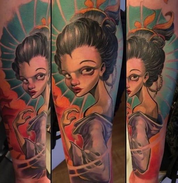 New School Geisha Tattoo