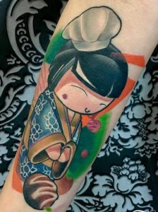 New School Kokeshi Doll Tattoo