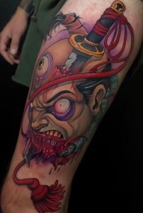 New School Severed Head Tattoo