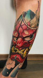 New School Oni Mask Tattoo