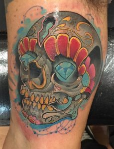 New School Sugar Skull Tattoo