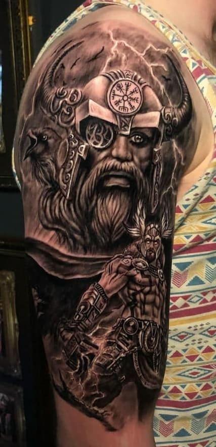 Odin Tattoo on the Upper Arm