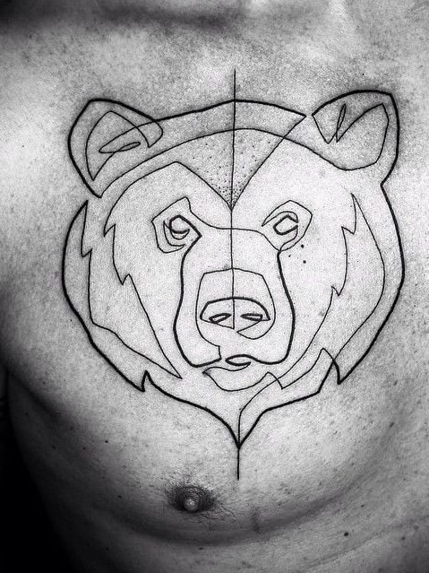 One Line Bear Tattoo