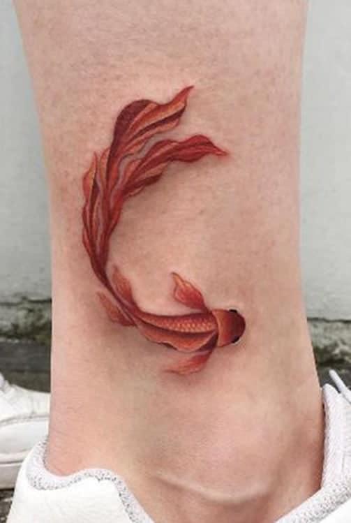 Orange Koi Fish Tattoo