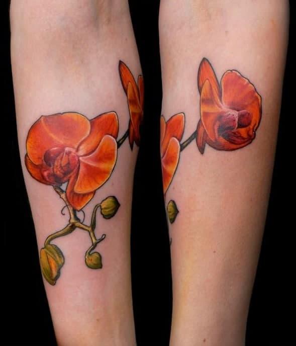 Orange Orchid Tattoo